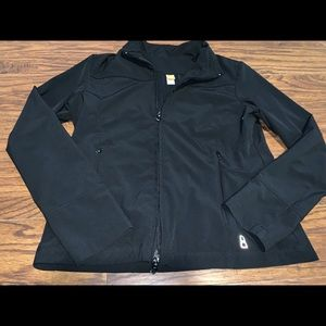 Lucy Womens Medium 8 10 Black Gray Animal Print Zip Jacket Athletic Athleisure Women's Clothing